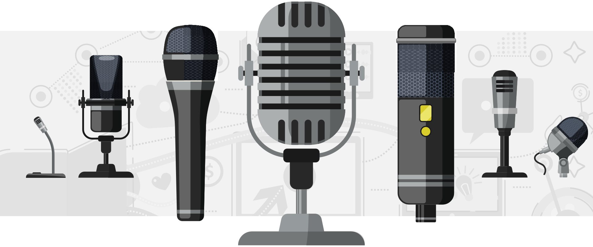 Group of best podcast microphones