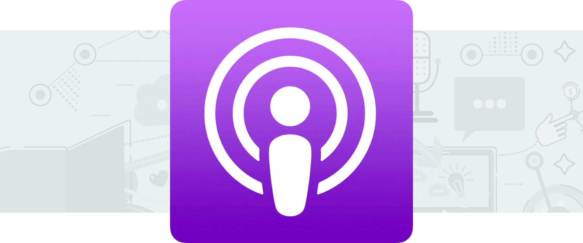 Apple Podcasts logo on light gray background