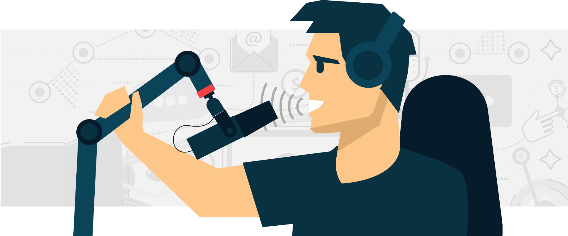 Podcaster displaying microphone technique