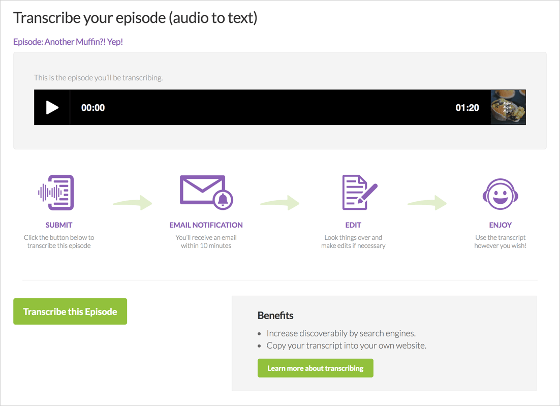 Transcribe your episode
